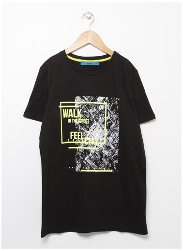 Funky Rocks Funky Rocks Bisiklet Yaka Siyah T-Shirt Siyah